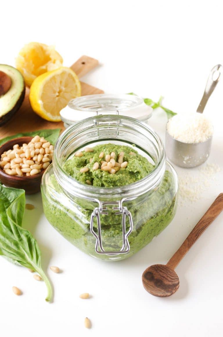 Avocado Basil Pesto in glass jar