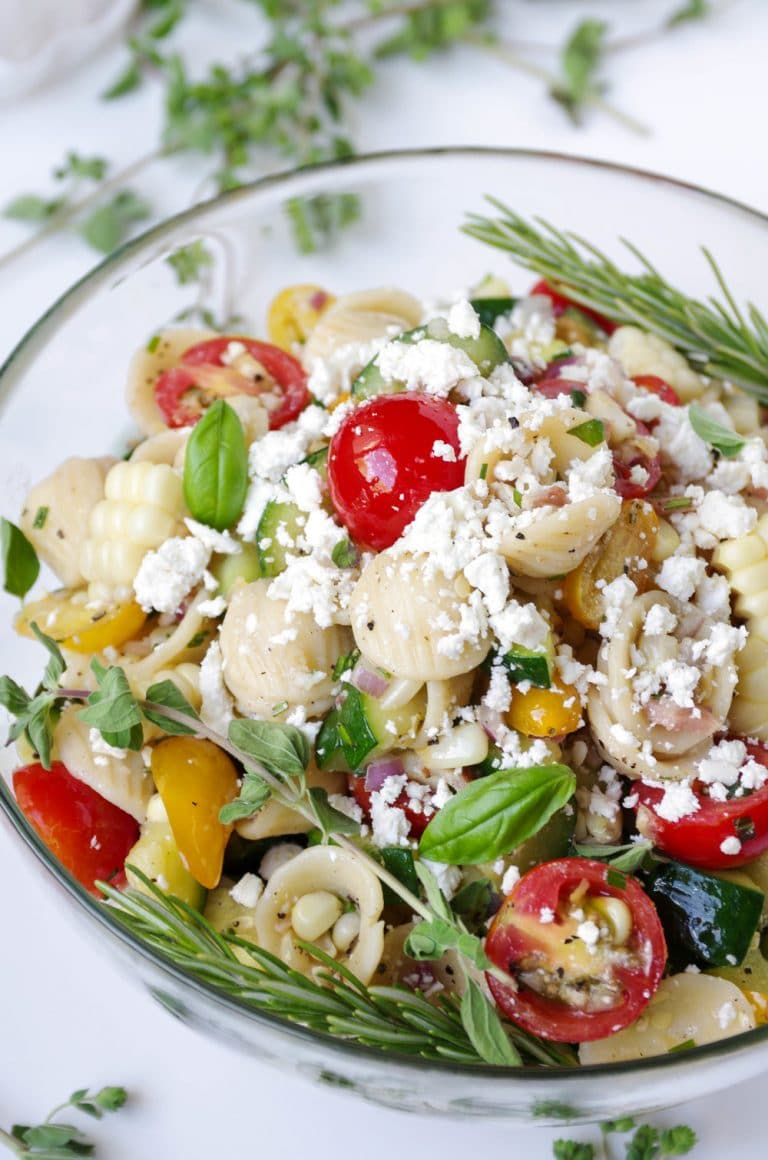 close up of Bacon Pasta Salad with Feta Cheese in bowl