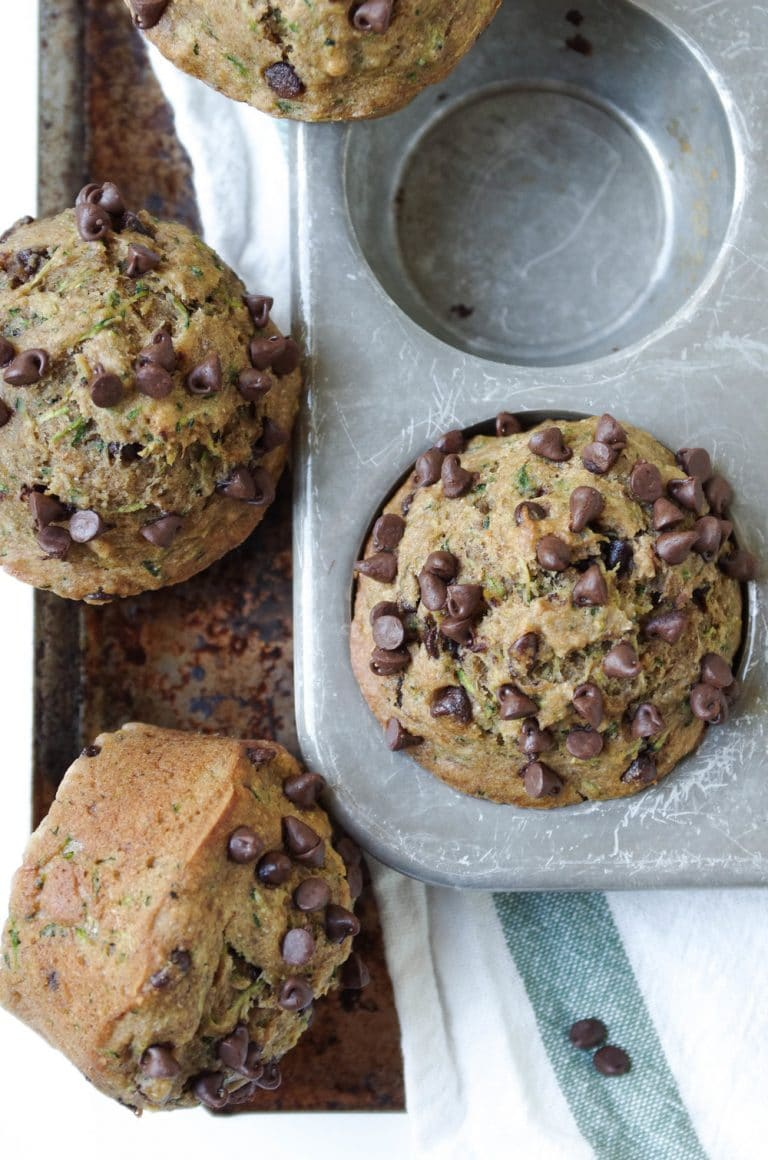 overhead image of Healthy Zucchini Chocolate Chip Muffins