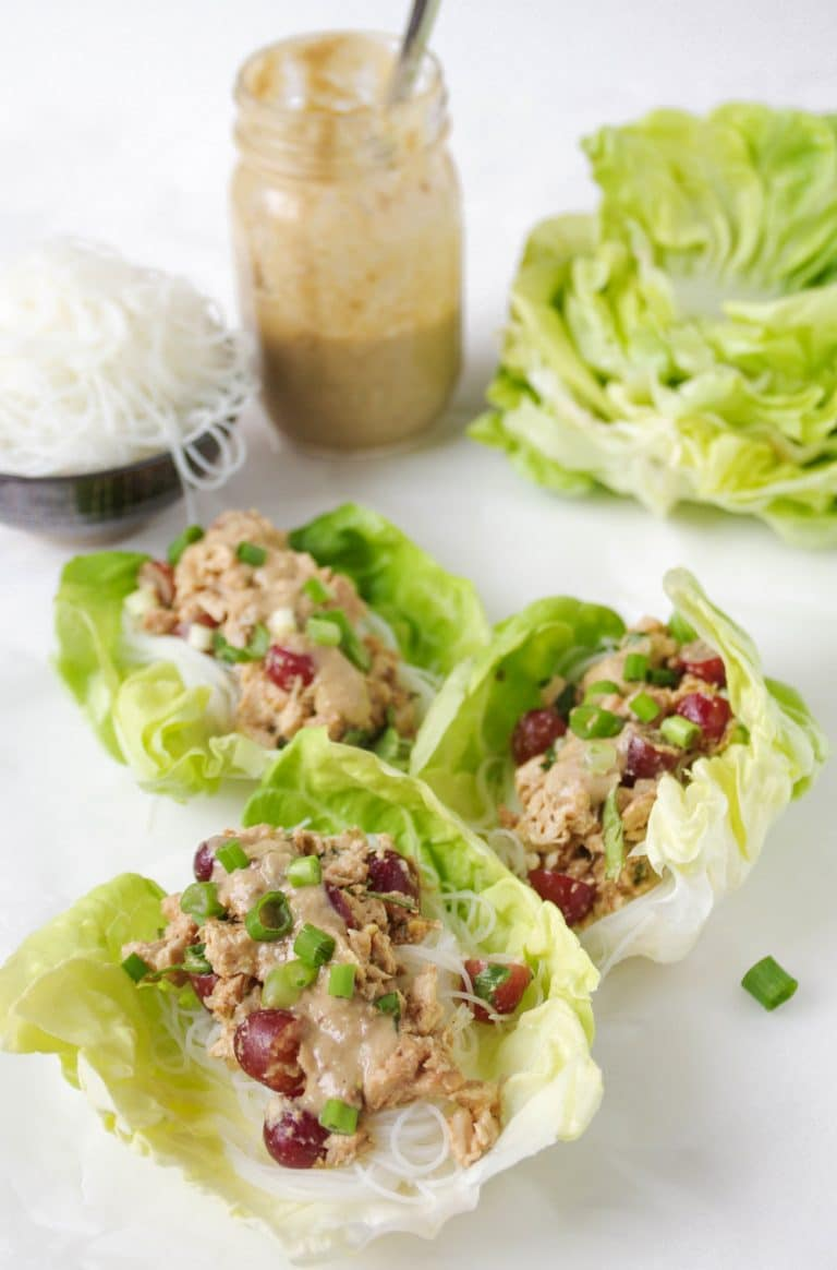 close up of Peanut Miso Chicken Lettuce Wraps with Rice Noodles