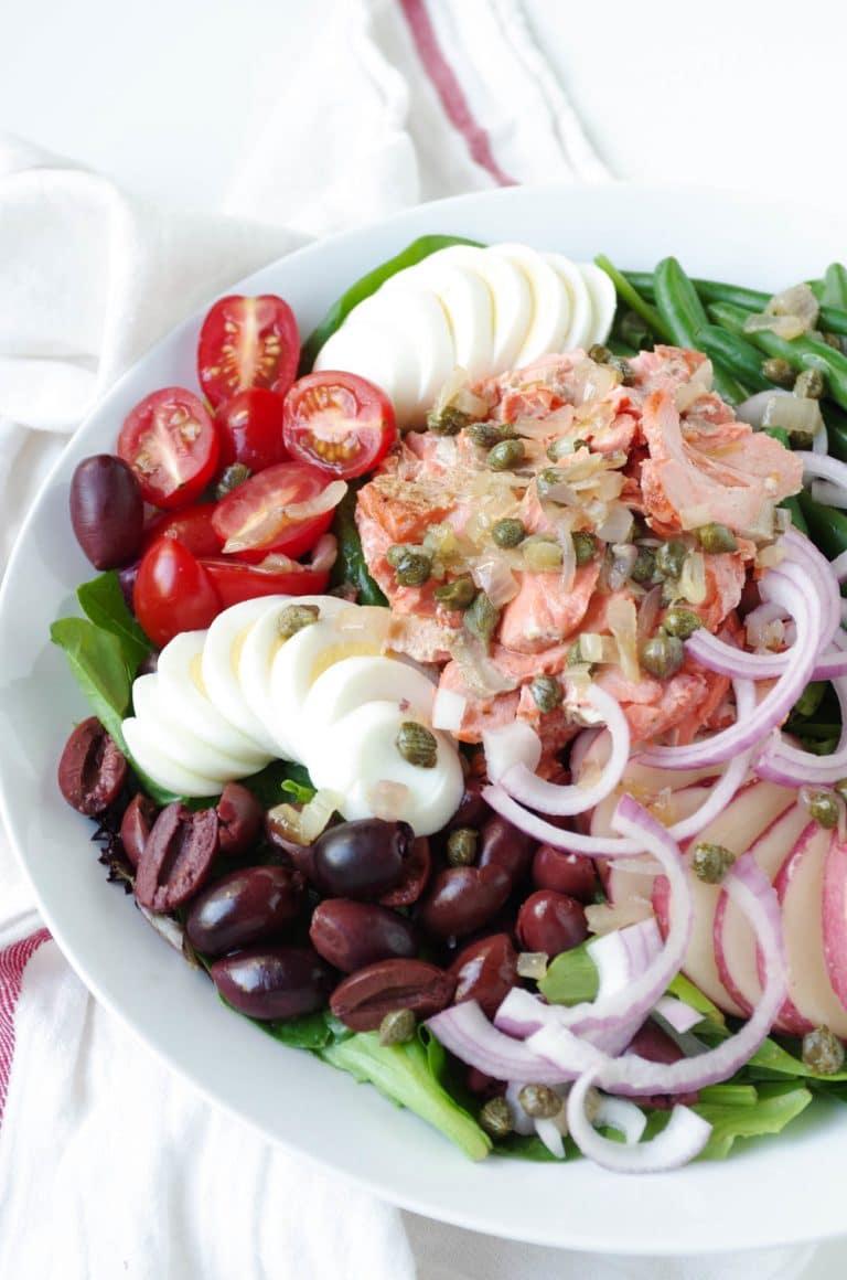 close up of Salmon Niçoise Salad with Shallot Caper Vinaigrette
