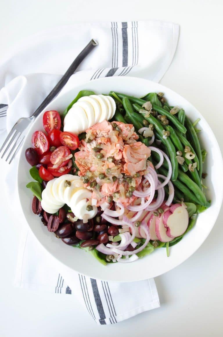 plate of Salmon Niçoise Salad with Shallot Caper Vinaigrette