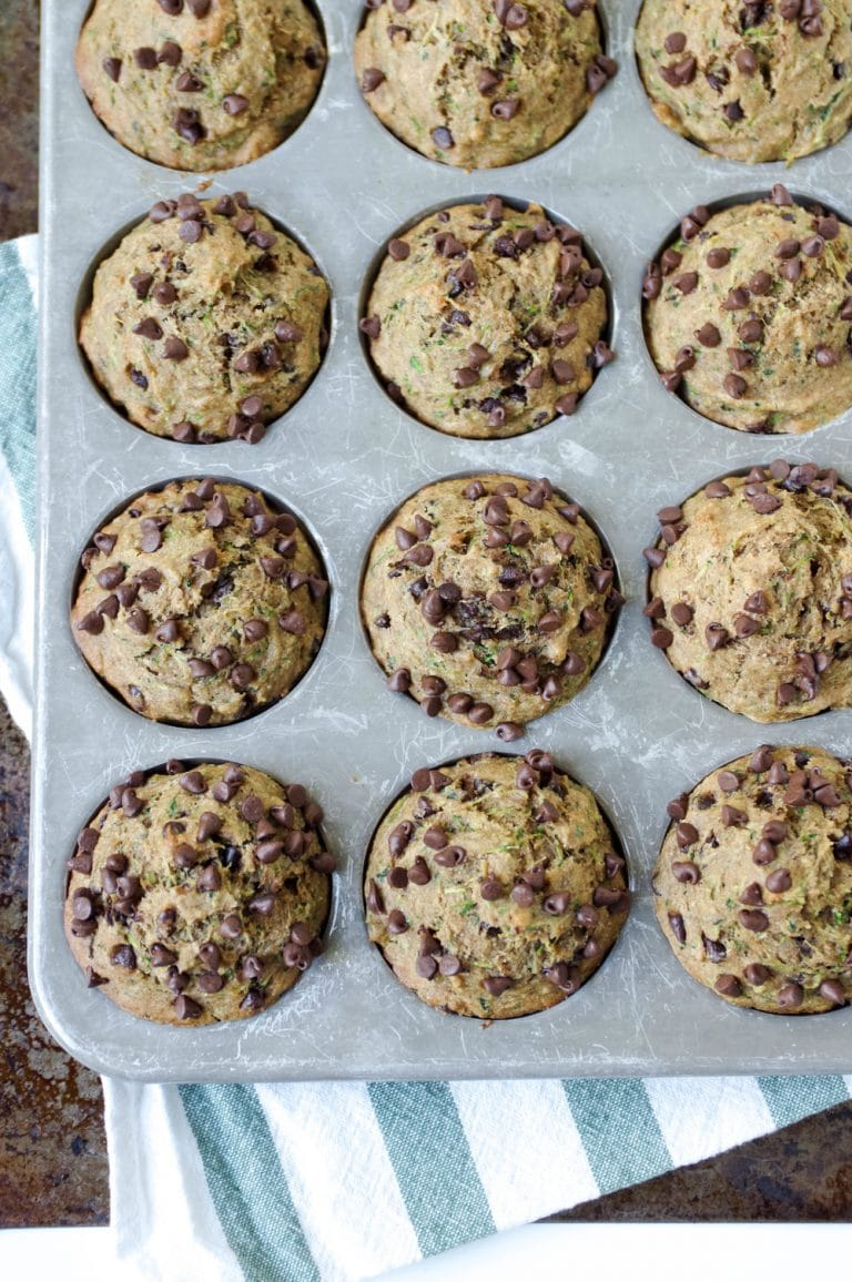 muffin pan filled with Healthy Zucchini Chocolate Chip Muffins