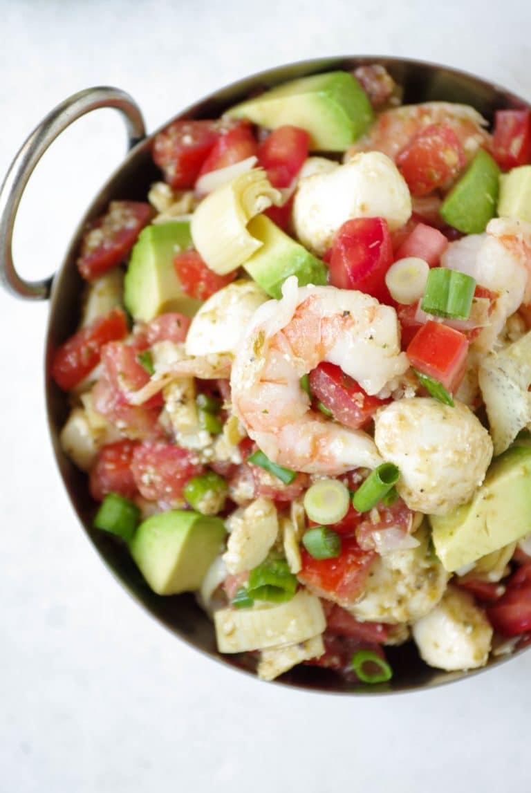 close up of bowl filled with Shrimp Avocado Bruschetta