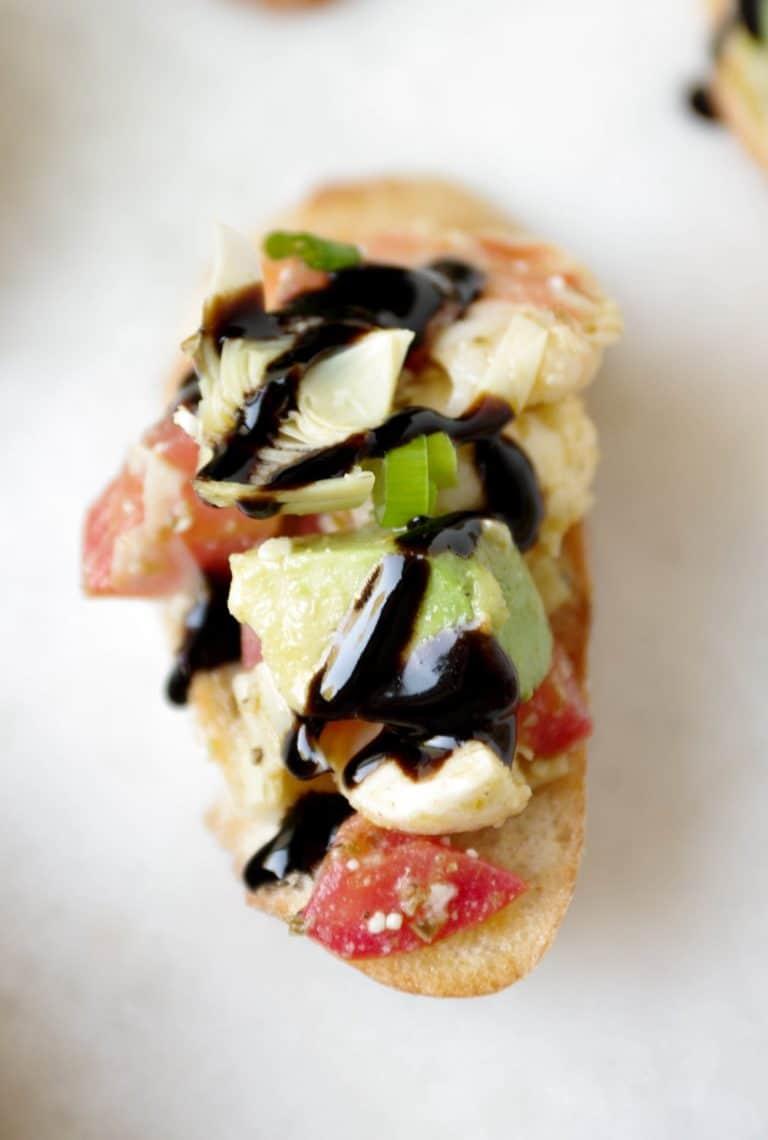 close up of Shrimp Avocado Bruschetta