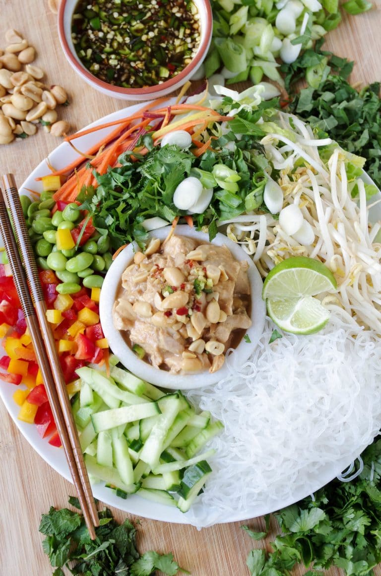 overhead image of Cold Noodle Salad with Chicken in Peanut Sauce