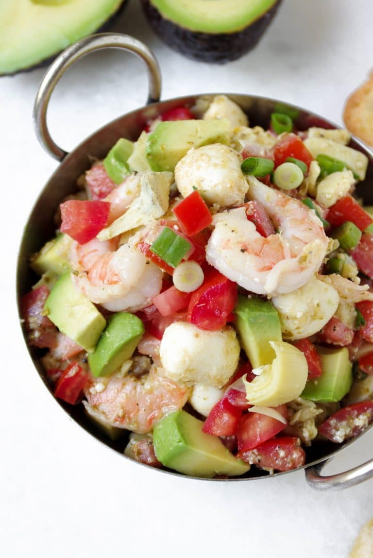 bowl filled with Shrimp Avocado Bruschetta