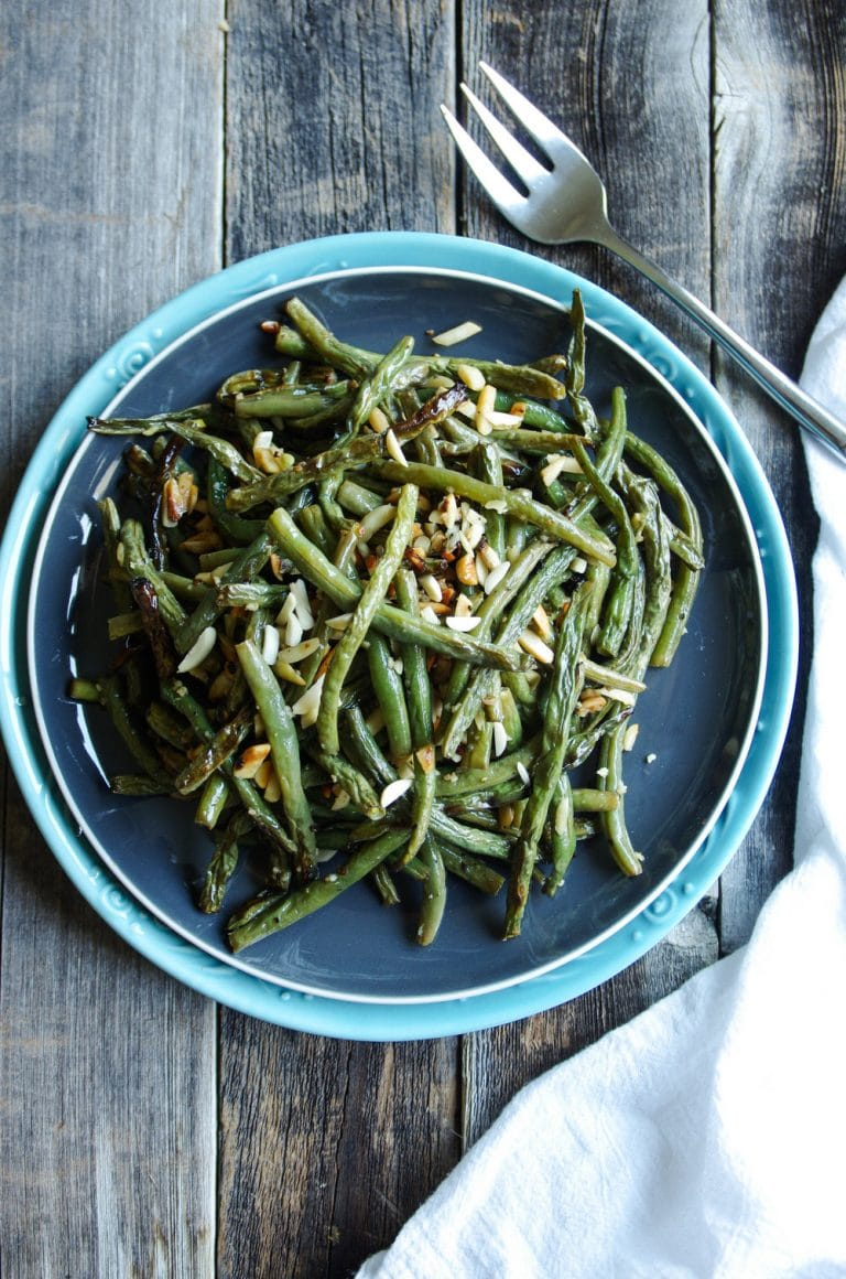 plate of green beans almonds roasted