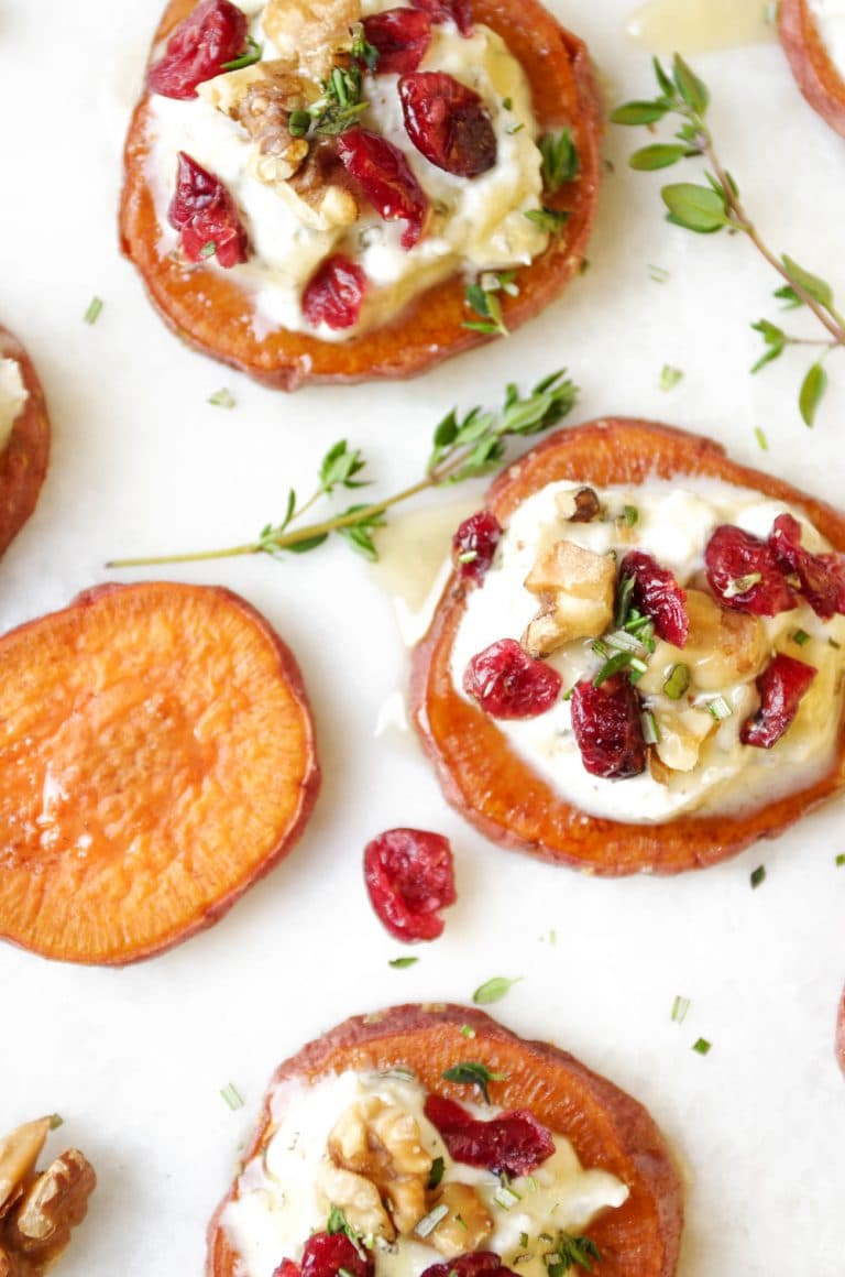 3 Sweet Potato Rounds with Ricotta, Walnuts, Cranberries and Fresh Herbs