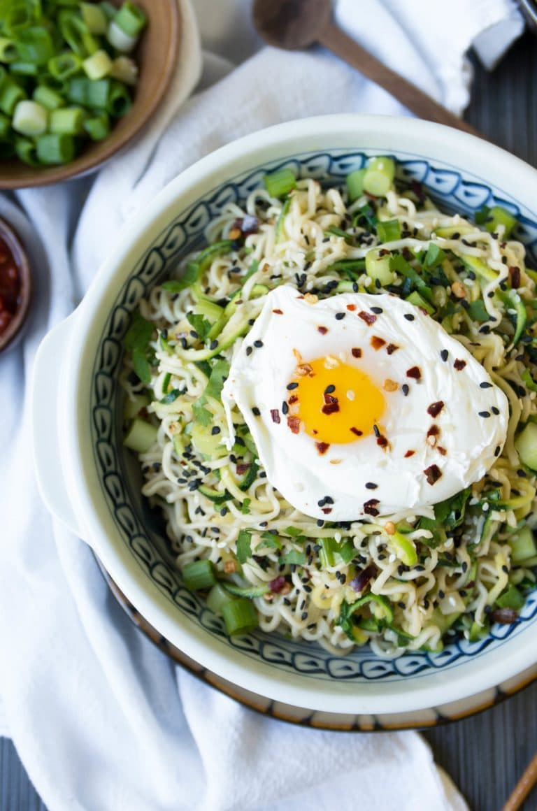 bowl of Ginger Garlic Miso Ramen Noodles with Poached Egg