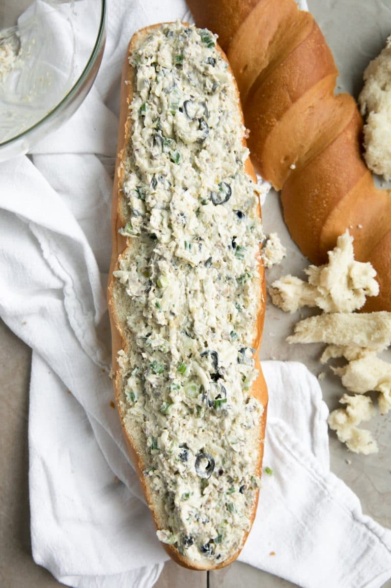 french bread stuffed with Cheesy Olive Tapenade