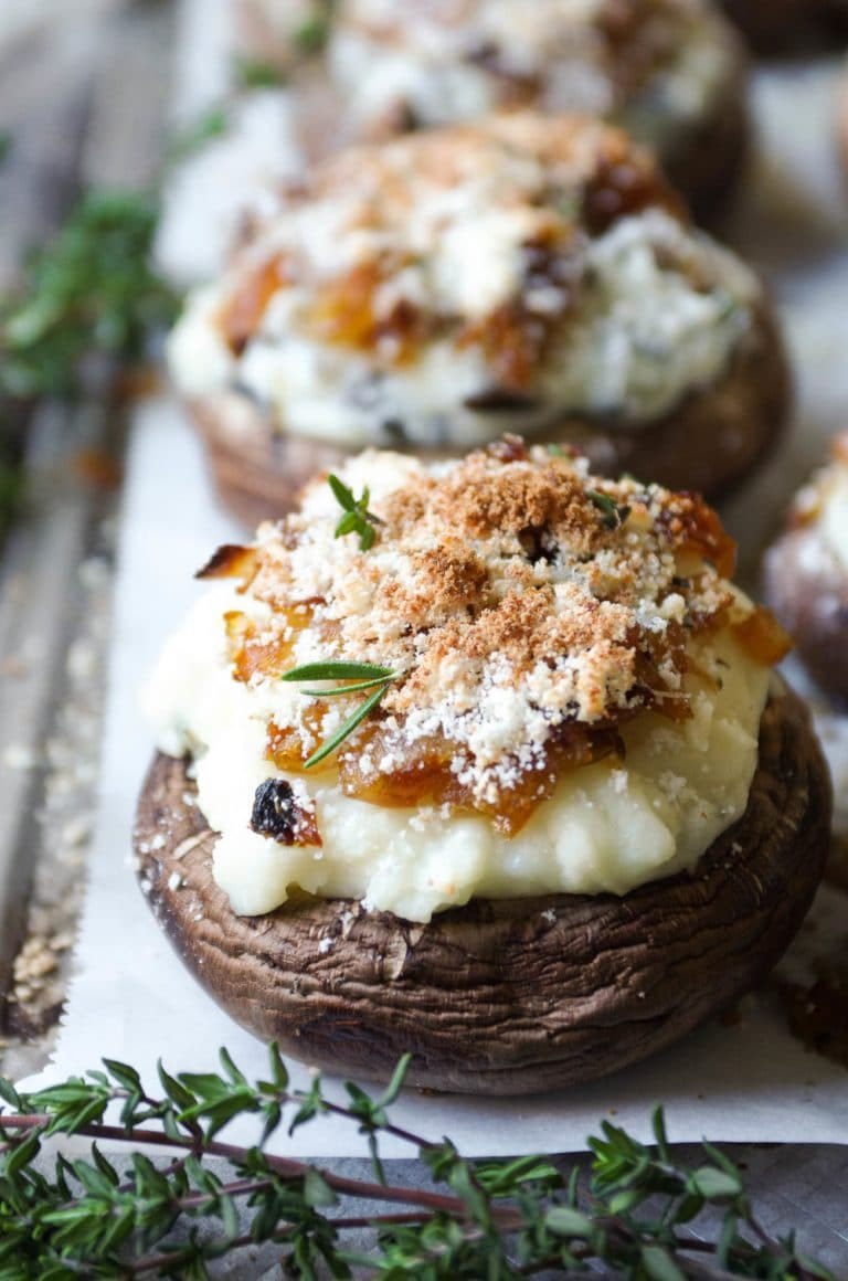 Cheesy Mashed Potato and Herb Stuffed Mushrooms with Caramelized Onions
