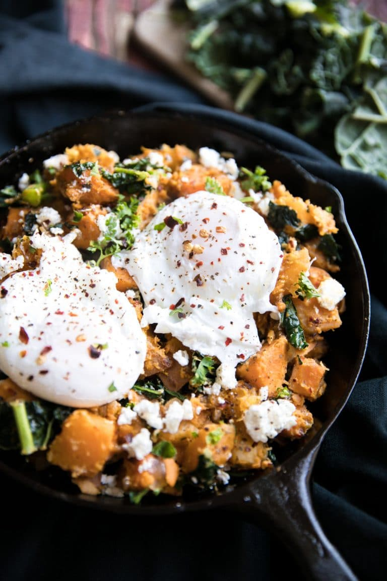close up of Sweet Potato + Butternut Squash Hash with Feta and Poached Egg