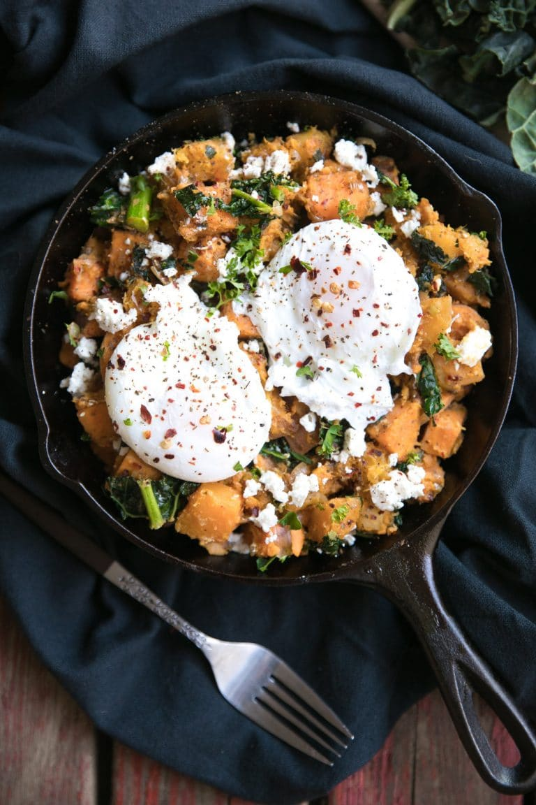 skillet with Sweet Potato Butternut Squash Hash with Feta and Poached Egg