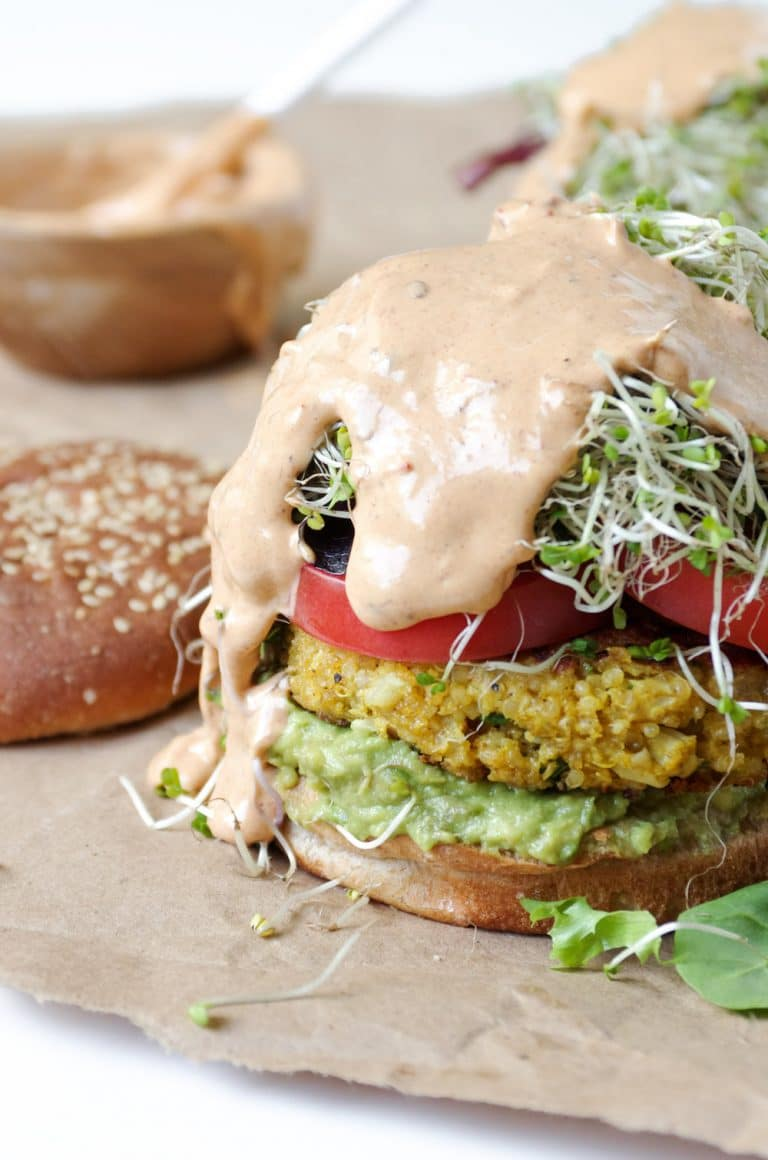 open face Easy Cauliflower Veggie Burgers with Avocado smothered with Chipotle Mayo