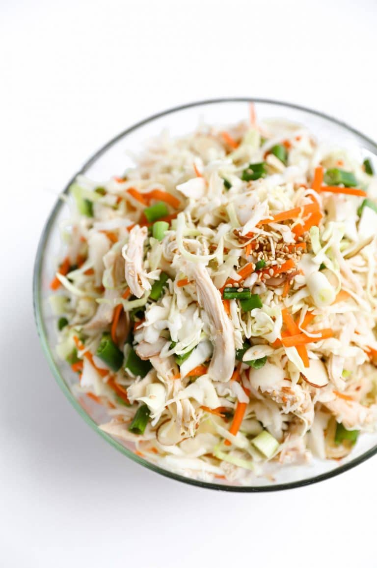 Chicken and Cabbage Salad with Light Sesame Vinaigrette mixed in bowl