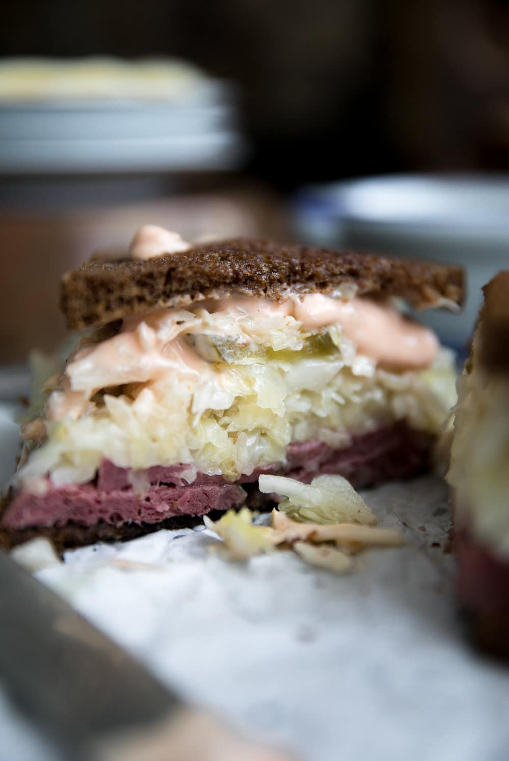 close up of Classic Reuben Sandwich