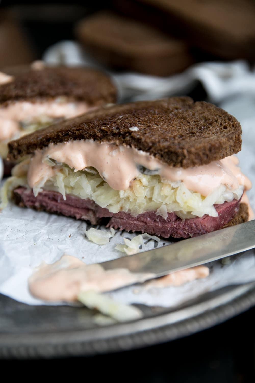 cloe of of half Classic Reuben Sandwich