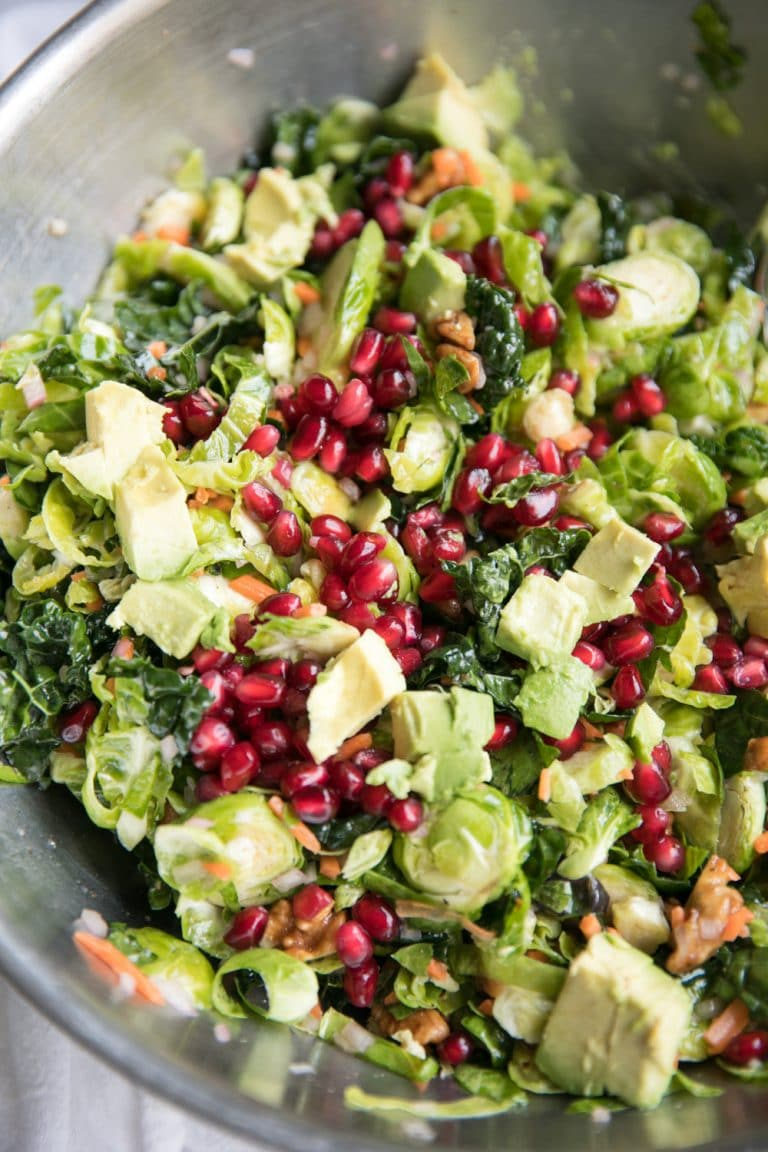 Shredded Brussels Sprout and Kale Salad with Lemon ...