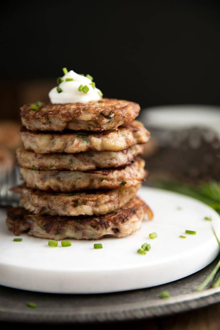 close up image of 6 stacked Irish Corned Beef Potato Pancakes