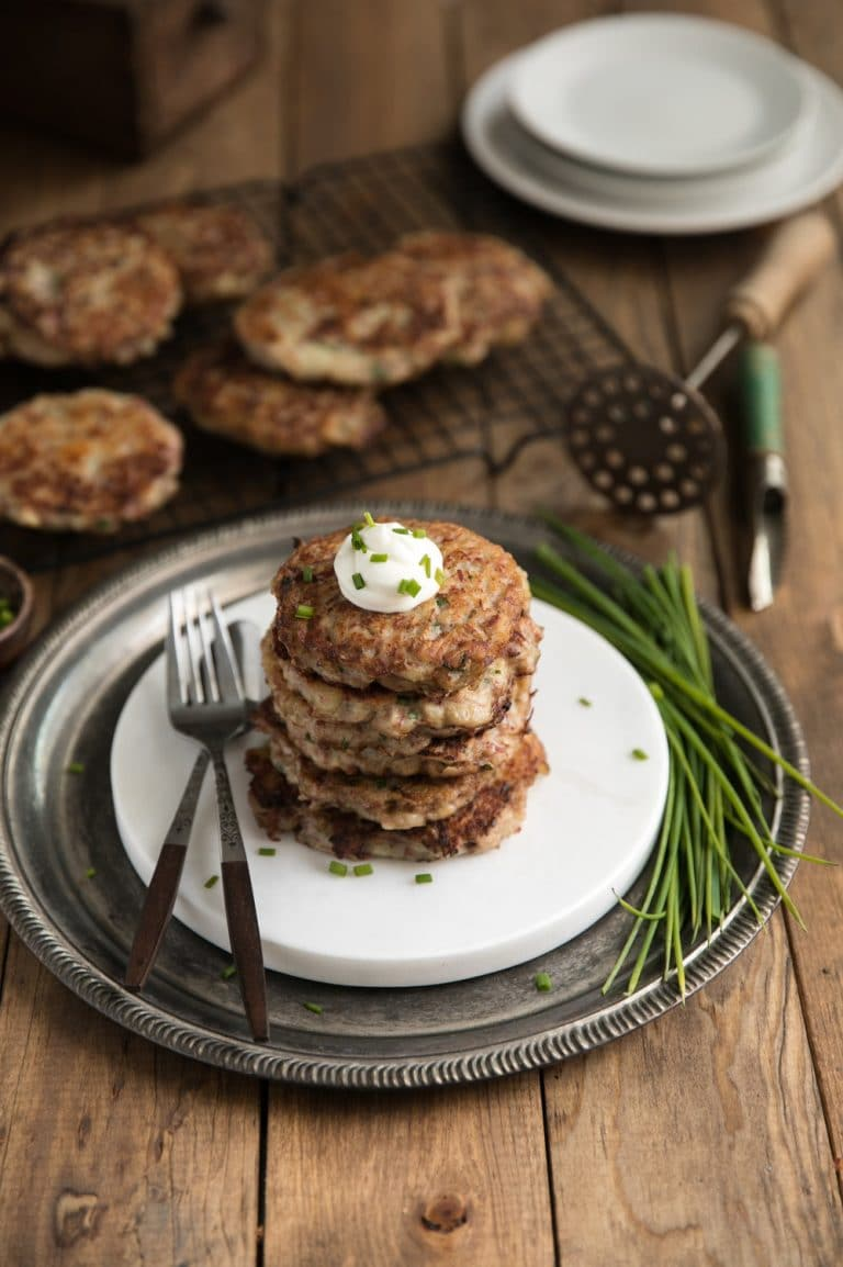stack of Irish Corned Beef Potato Pancakes on plate
