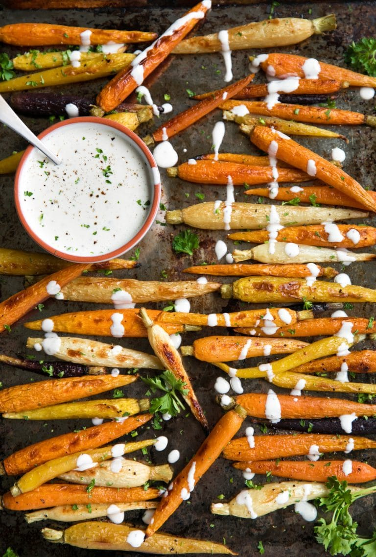 A pile of roasted carrots