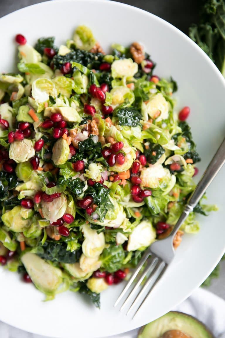 Shredded Brussels Sprout and Kale Salad with Lemon