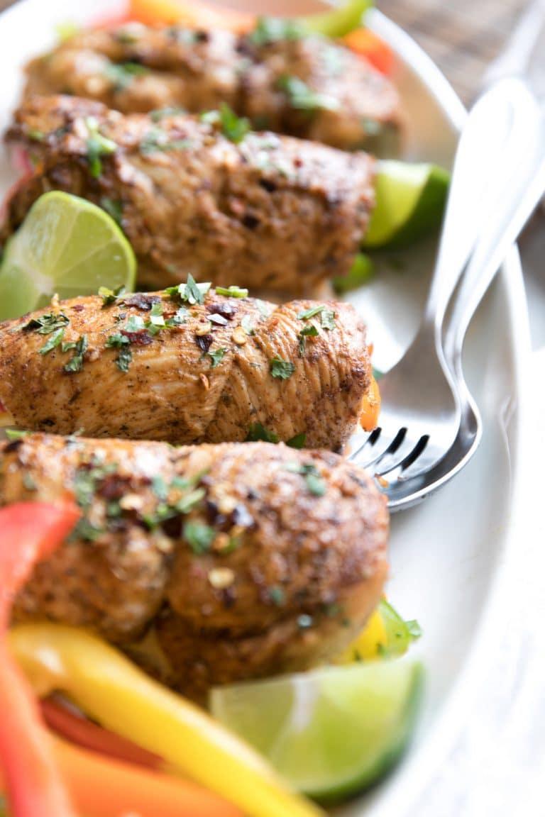 close up of 4 Chicken Fajita Roll-Ups