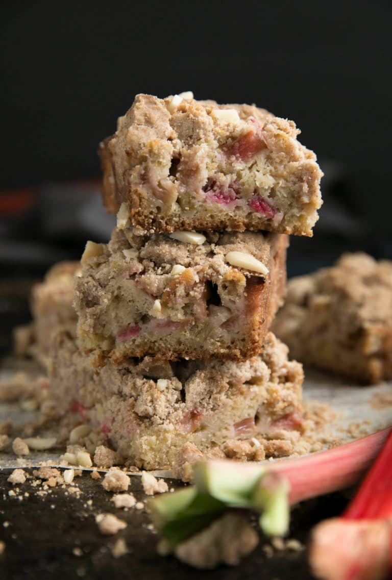 close of 3 staked slices of Rhubarb Coffee Cake