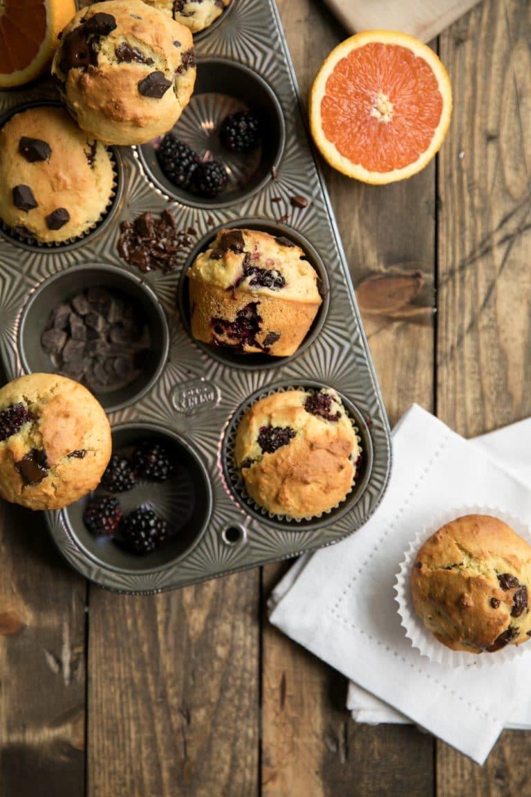 Blackberry and Orange Muffins with Dark Chocolate Chunks