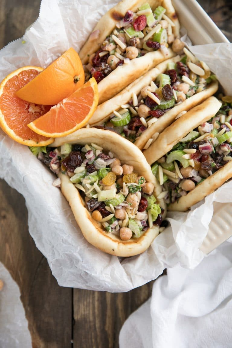 close up overhead image of Chickpea Tahini Salad Wraps