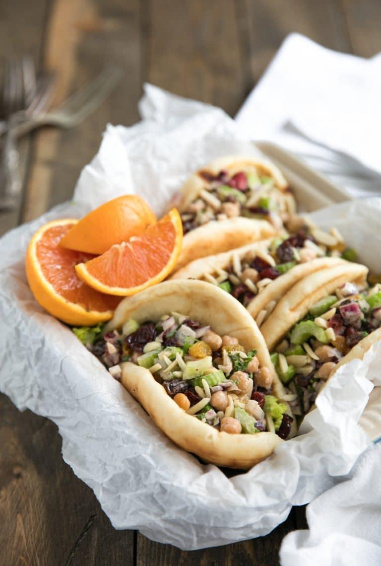 close up of 4 Chickpea Tahini Salad Wraps