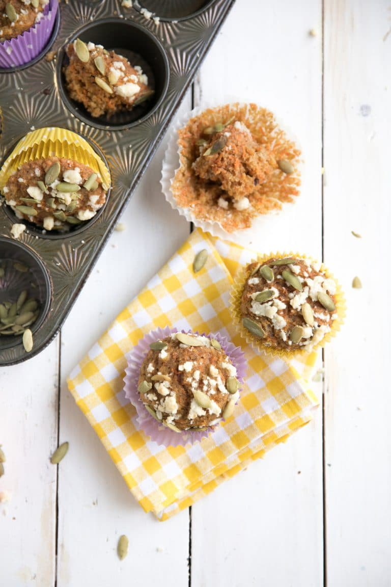 close up of Carrot Cake Muffins with Streusel Topping