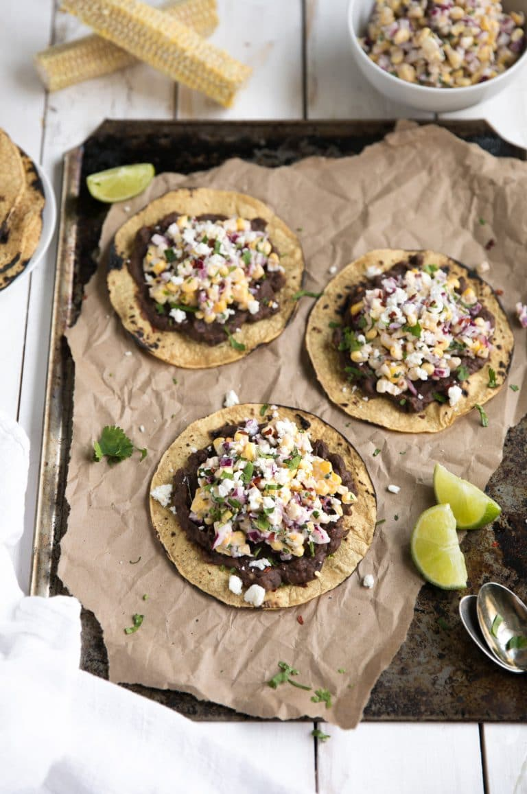 3 Mexican Street Corn Tostadas with Chipotle Black Beans on sheetpan