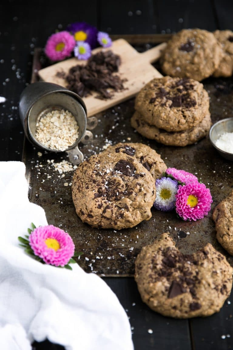 Chocolate Chunk Almond Butter and Oatmeal Cookies