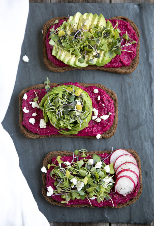 3 Avocado Toast with Beet Hummus