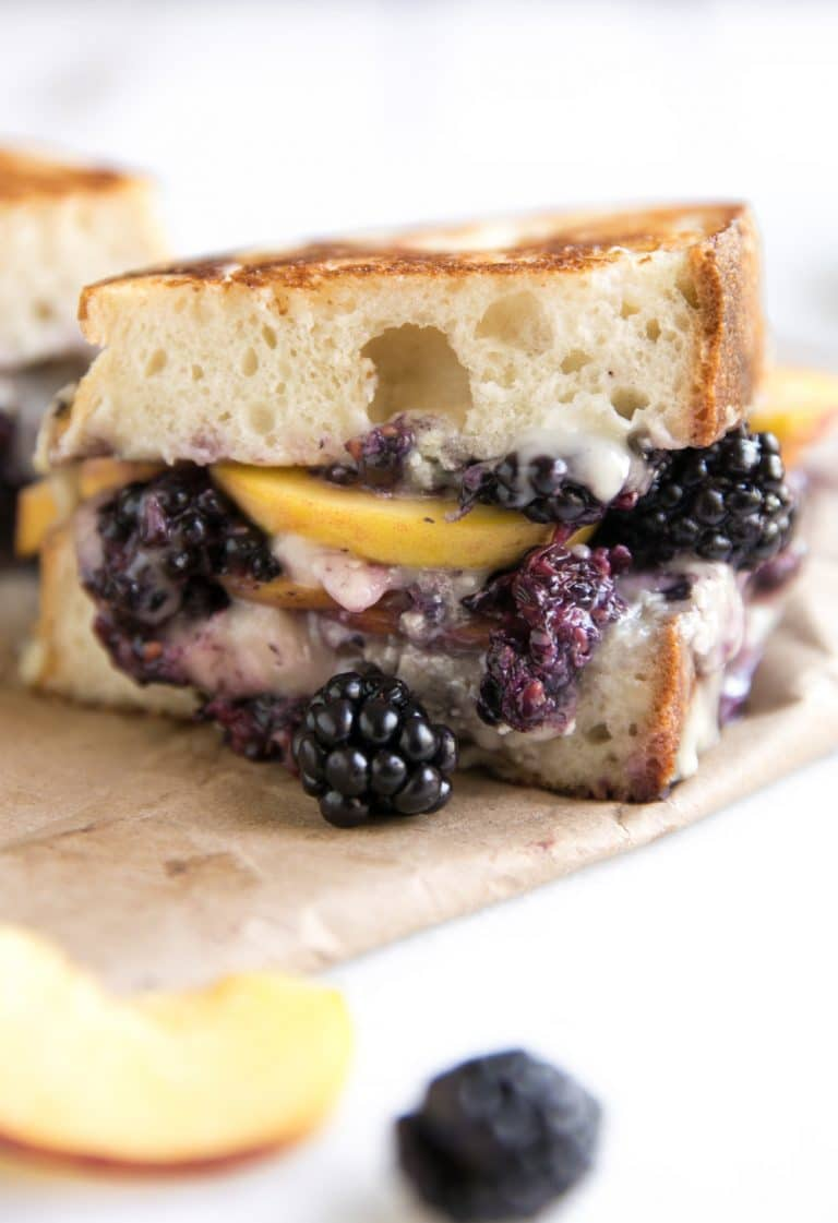 Blackberry and Peach Brie Grilled Cheese Sandwich