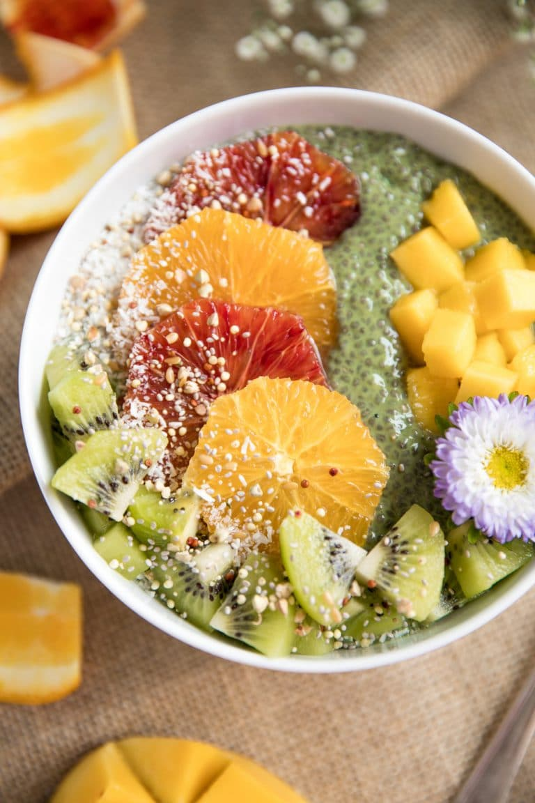 Matcha Chia Pudding Fruit Bowl sprinkled with coconut