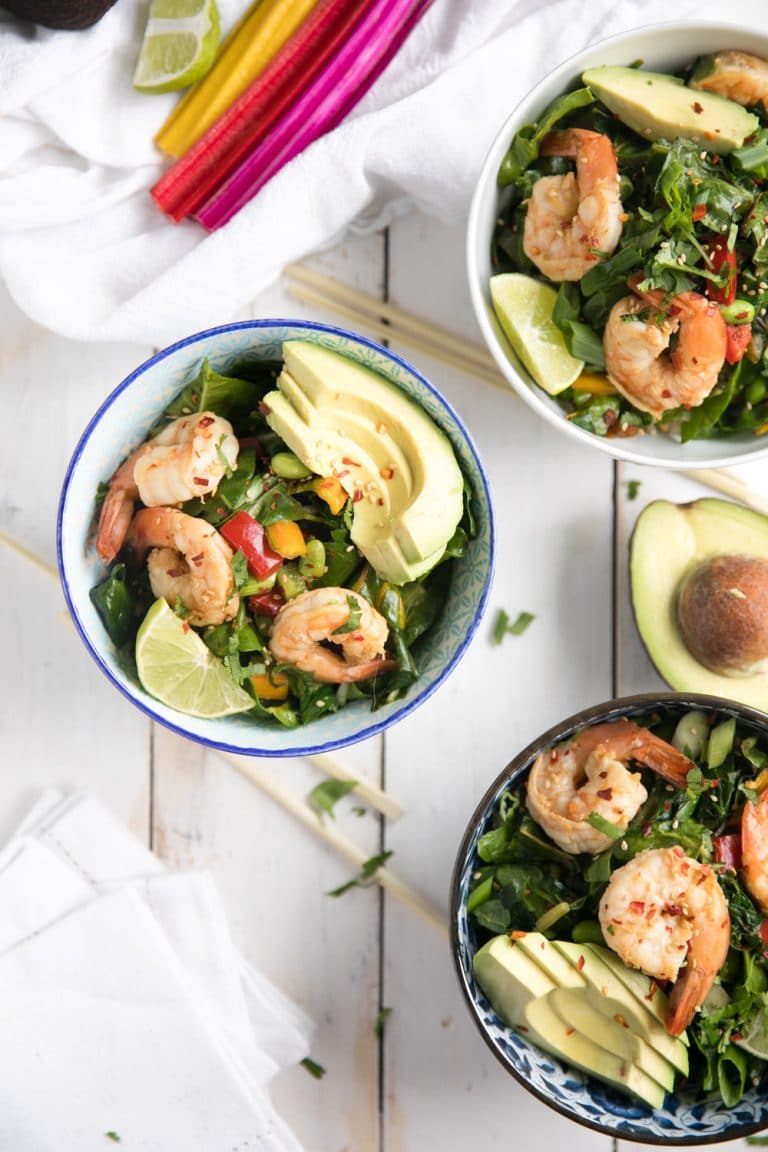 Sesame Ginger Shrimp Bowls with Asian Chopped Greens